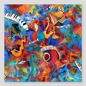 "Jazz Musicians Blues Band Square Car Magnet 3"" x 3"