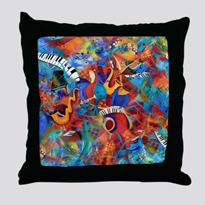 Jazz Musicians Blues Band Throw Pillow