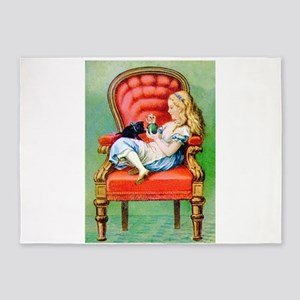 Alice and Her Cat, Dinah 5'x7'Area Rug