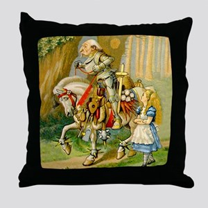 Alice Meets The White Knight Throw Pillow