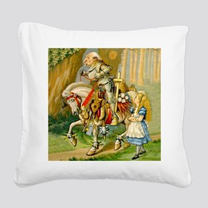 Alice Meets The White Knight Square Canvas Pillow
