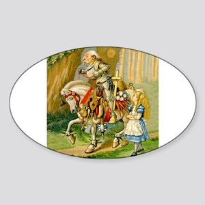 Alice Meets The White Knight Sticker (Oval)