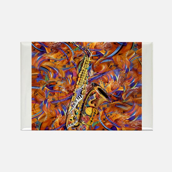 Sax In The City Jazzy Music Painting Rectangle Mag