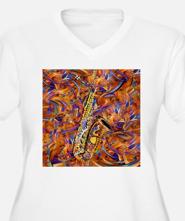Sax In The City Jazzy Music Painting T-Shirt