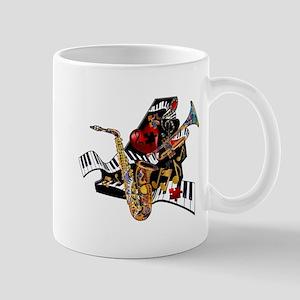 Red Hot Jazz Music Piano Sax Instruments Mug