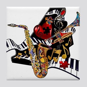 Red Hot Jazz Music Piano Sax Instruments Tile Coas