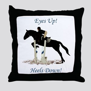 Eyes Up! Heels Down! Horse Throw Pillow