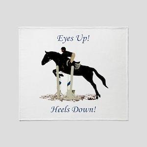 Eyes Up! Heels Down! Horse Throw Blanket