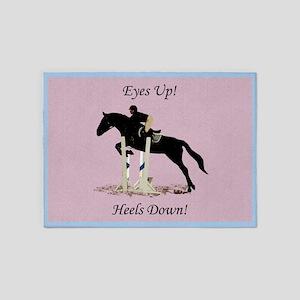 Eyes Up! Heels Down! Horse 5'x7'Area Rug