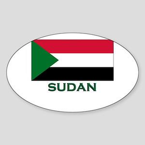 Sudan Flag Gear Oval Sticker