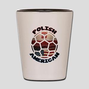 Polish American Soccer Football Shot Glass