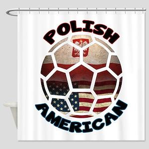 Polish American Soccer Football Shower Curtain
