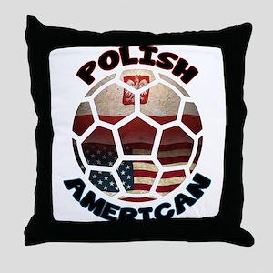 Polish American Soccer Football Throw Pillow