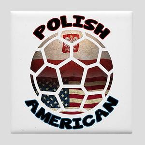 Polish American Soccer Football Tile Coaster