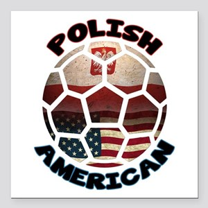 Polish American Soccer Football Square Car Magnet