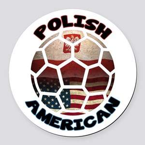 Polish American Soccer Football Round Car Magnet