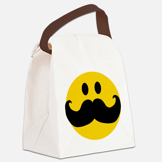 Mustached Smiley Canvas Lunch Bag