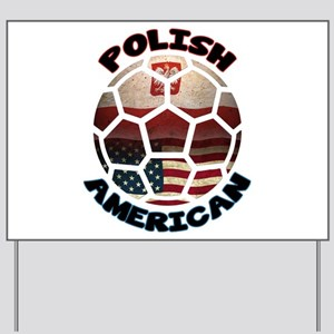 Polish American Soccer Football Yard Sign