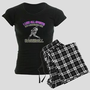 Baseball Design Women's Dark Pajamas