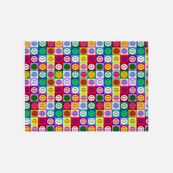 Multicolor Smileys 5'x7'Area Rug