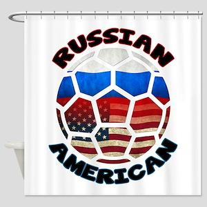 Russian American Football Soccer Shower Curtain