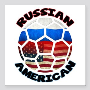 Russian American Football Soccer Square Car Magnet