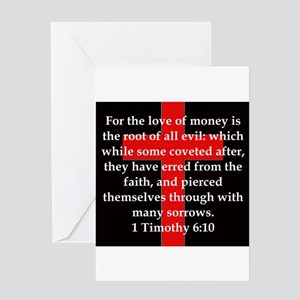 1 Timothy 6-10 Greeting Card
