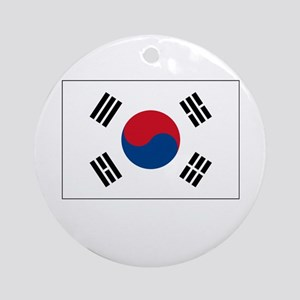 South Korea Flag Picture Ornament (Round)