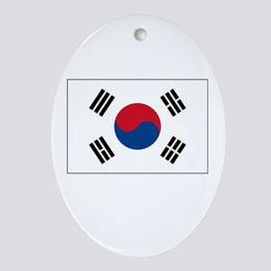 South Korea Flag Picture Oval Ornament