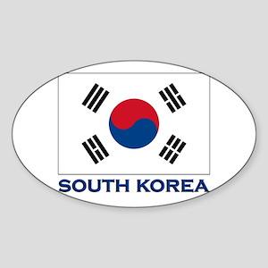 South Korea Flag Stuff Oval Sticker