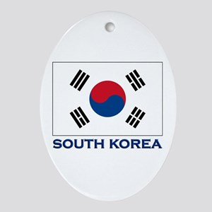 South Korea Flag Stuff Oval Ornament