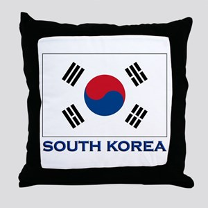 South Korea Flag Stuff Throw Pillow