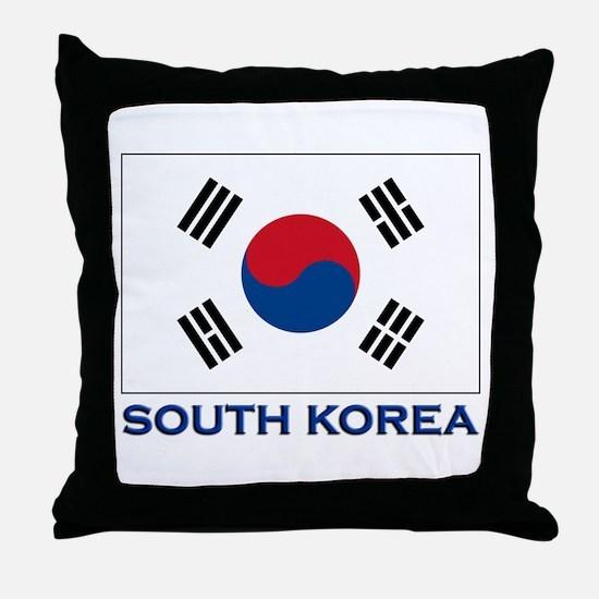 South Korea Flag Stuff Throw Pillow