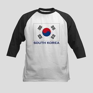 South Korea Flag Stuff Kids Baseball Jersey