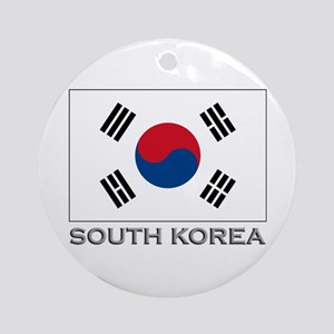 South Korea Flag Gear Ornament (Round)