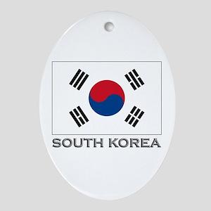 South Korea Flag Gear Oval Ornament