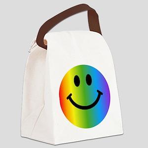 Rainbow Smiley Face Canvas Lunch Bag