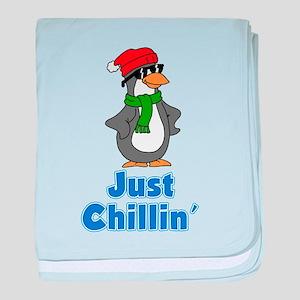 Just Chillin Penguin baby blanket
