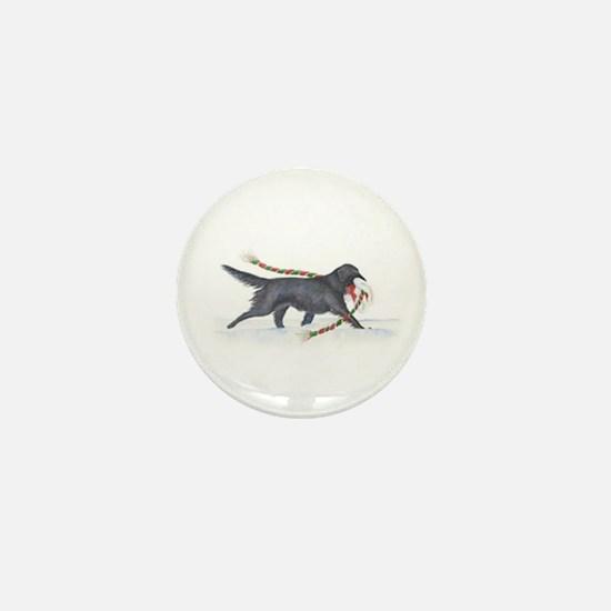 Christmas Flat-coated Retriever Mini Button