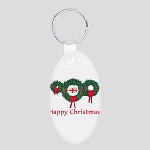 England Christmas 2 Aluminum Oval Keychain