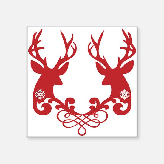 Christmas deer heads with ornaments Square Sticker