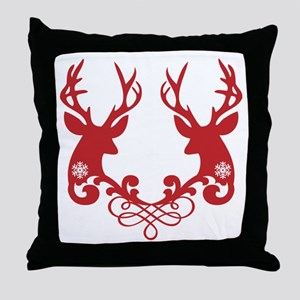 Christmas deer heads with ornaments Throw Pillow
