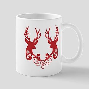 Christmas deer heads with ornaments Mug