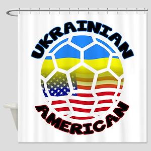 Ukrainian American Football Soccer Shower Curtain