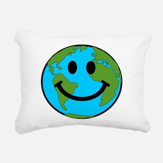 Smiling Earth Smiley Rectangular Canvas Pillow