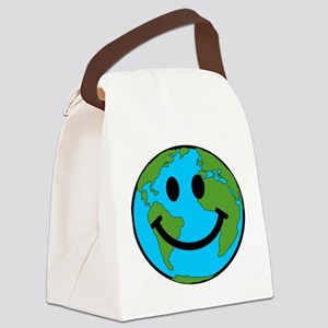 Smiling Earth Smiley Canvas Lunch Bag