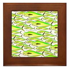 School of Mahi (Dorado, Dolphin) Fish Framed Tile