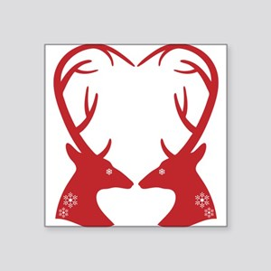 Christmas deers with heart shaped antlers Square S