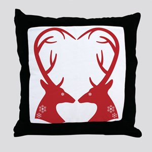 Christmas deers with heart shaped antlers Throw Pi