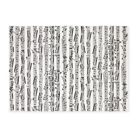 Music notes 5'x7'Area Rug